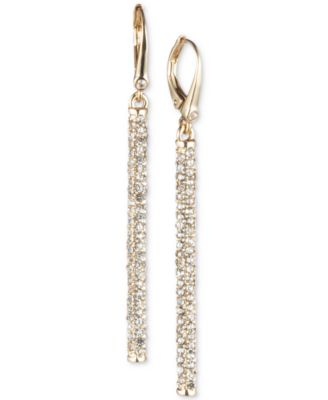 Gold-Tone Micropavé Linear Drop Earrings