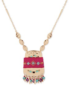 "lonna & Lilly Gold-Tone Bead & Felt-Wrapped Pendant Necklace, 28"" + 3"" extender"