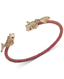 lonna & lilly Gold-Tone Pavé Fish Chain & Thread-Wrapped Bangle Bracelet