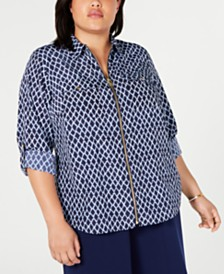 MICHAEL Michael Kors Plus Size Printed Zippered Shirt