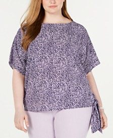 MICHAEL Michael Kors Plus Size Ikat-Print Side-Tie Top