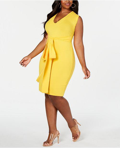 Rebdolls Bodycon Tie Waist Midi Dress By The Workshop At Macy's, Regular & Plus Sizes