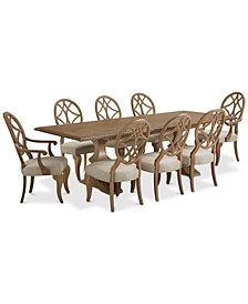 Trisha Yearwood Jasper County Stately Brown Rectangular Dining 9-Pc. Set (Table, 6 Side Chairs & 2 Arm Chairs)