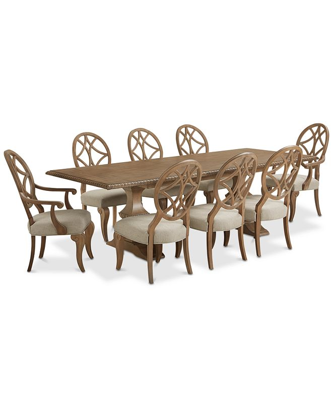 Furniture Trisha Yearwood Jasper County Stately Brown Rectangular Dining Furniture, 9-Pc. Set (Table, 6 Side Chairs & 2 Arm Chairs)