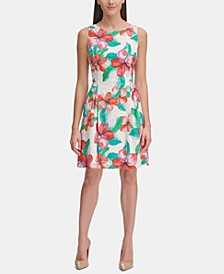 Floral-Printed Eyelet Fit & Flare Dress