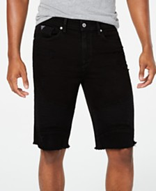 GUESS Men's Slim-Fit Stretch Cutoff Denim Moto Shorts