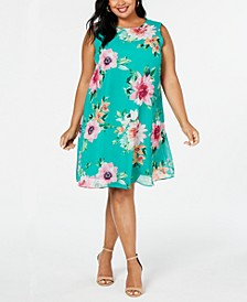 Plus Size Floral Sleeveless Shift Dress