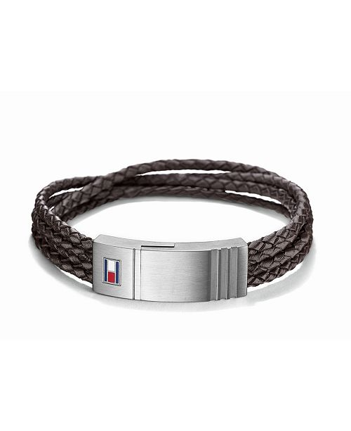 Tommy Hilfiger Men's Stainless Steel Four-Row Braided Leather Bracelet
