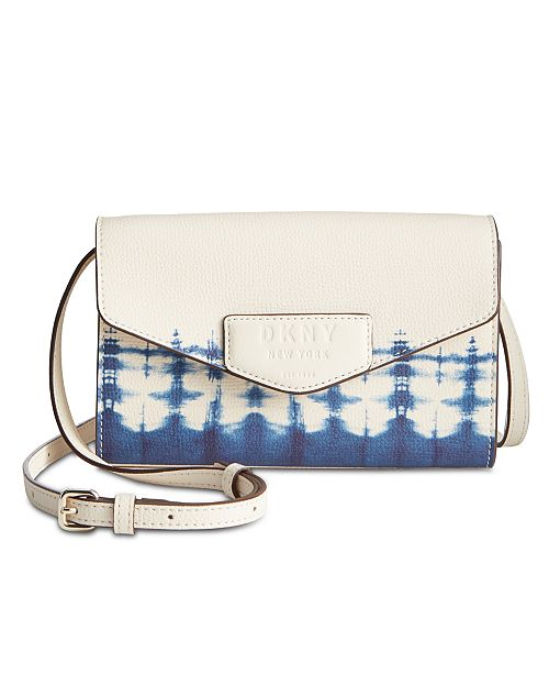 DKNY Sullivan Leather Tie-Dyed Crossbody Wallet
