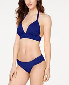 Island Goddess Banded Halter Bikini Top & Ruched Side-Tab Bikini Bottoms