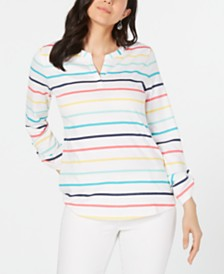 Charter Club Cotton Striped Utility Top, Created for Macy's