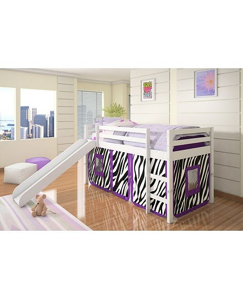Donco Kids Twin Zebra Tent Loft Bed with Slide