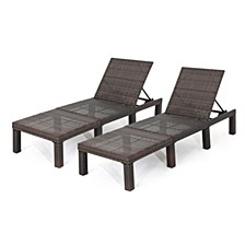 Jamaica Outdoor Chaise Lounge, Set of 2