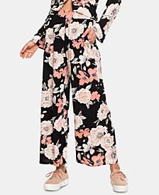 Juniors' Floral Print Wrap Front Pants