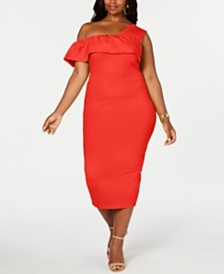 Rebdolls One Shoulder Ruffles Bodycon Midi Dress By The Workshop at Macy's , Regular & Plus Sizes