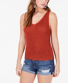 Hooked Up by IOT Juniors' Sleeveless Open-Knit Top