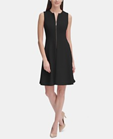 Tommy Hilfiger Zip-Front Fit & Flare Dress