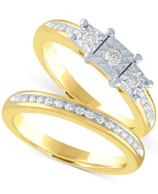 Diamond Bridal Set (1/4 ct. t.w.) in 14k Gold Over Sterling Silver