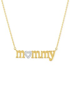 "Diamond ""Mommy"" 18"" Pendant Necklace (1/10 ct. t.w.) in 14k Gold Over Sterling Silver"