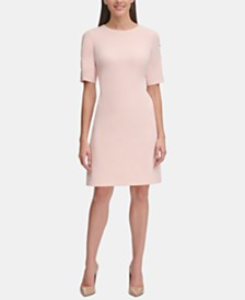 Tommy Hilfiger Button-Sleeve Scuba Dress
