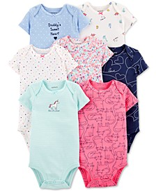 Baby Girls 7-Pack Printed Cotton Bodysuits