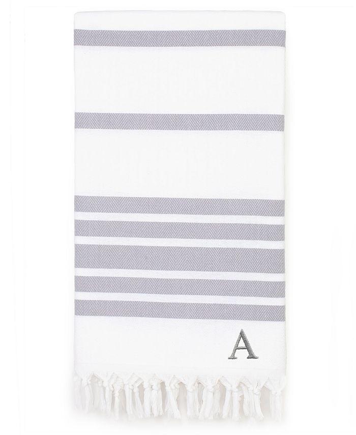 Linum Home - Personalized Herringbone Peshtemal Beach Towel - Grey