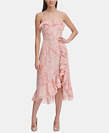 Paisley Chiffon Ruffle Dress