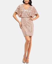 Betsy & Adam Petite Cold-Shoulder Blouson Dress