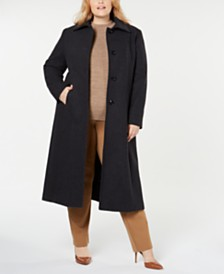 Jones New York Plus Size Notch-Collar Maxi Coat
