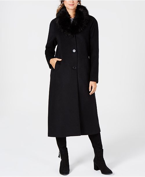 Jones New York Faux-Fur-Collar Maxi Coat