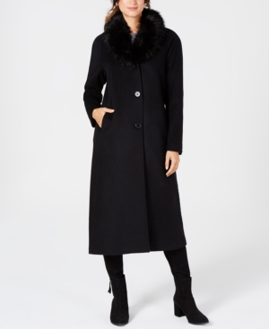 Vintage Coats & Jackets | Retro Coats and Jackets Jones New York Faux-Fur-Collar Maxi Coat $183.99 AT vintagedancer.com