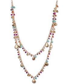 "lonna & lilly Gold-Tone Shaky Bead & Shell Double Row 38"" Slider Necklace"