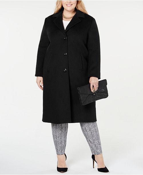 Jones New York Plus Size Notch Collar Single Breasted Reefer Maxi Coat
