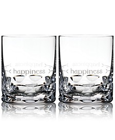 Ogham Happiness Double Old-Fashioned Glasses, Set of 2