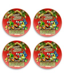 Tarhong Tiki Bar Red Dinner Plate, Set of 4