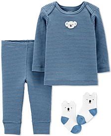 Baby Boys 3-Pc. Koala Top, Pants & Socks Set
