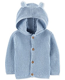 Baby Boys Hooded Cardigan Sweater with 3D Ears