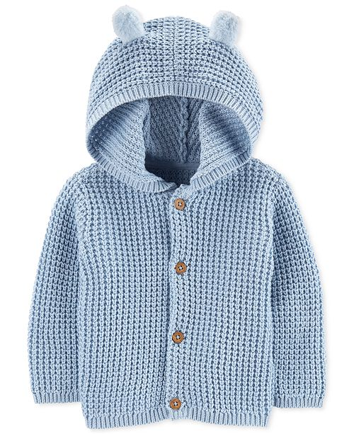 Carter's Baby Boys Hooded Cardigan Sweater with 3D Ears