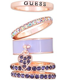 GUESS Rose Gold-Tone 5-Pc. Set Crystal Stack Rings