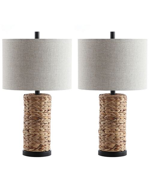 """JONATHAN Y Elicia 25"""" Sea Grass LED Table Lamp - Set of 2"""