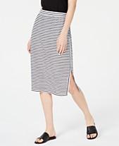 c486b022f5 Eileen Fisher Organic Linen Striped Side-Slit Skirt