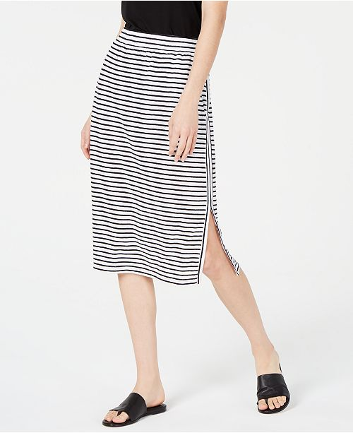 Eileen Fisher Organic Linen Striped Side-Slit Skirt