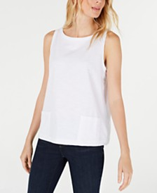 Eileen Fisher Cotton Sleeveless Boat-Neck Top, Regular & Petite