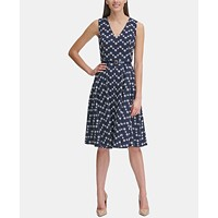 Deals on Tommy Hilfiger Womens Floral Eyelet Fit & Flare Dress