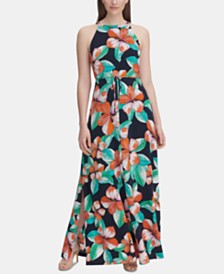 Tommy Hilfiger Floral Print Twill Maxi Dress