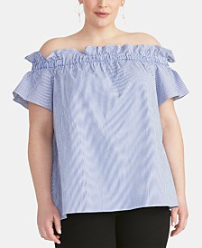 RACHEL Rachel Roy Trendy Plus Size  Striped Off-The-Shoulder Top