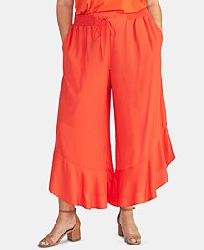 Trendy Plus Ruffled Cropped Pants