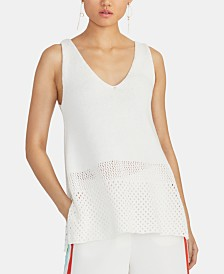 RACHEL Rachel Roy Tasha Sleeveless Open-Knit Sweater Top