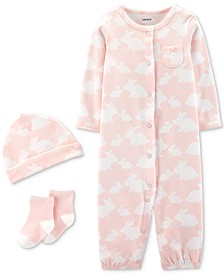 Baby Girls 3-Pc. Bunny-Print Cotton Coverall, Hat & Socks