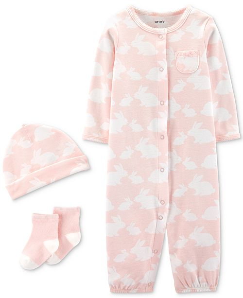 Carter's Baby Girls 3-Pc. Bunny-Print Cotton Coverall, Hat & Socks